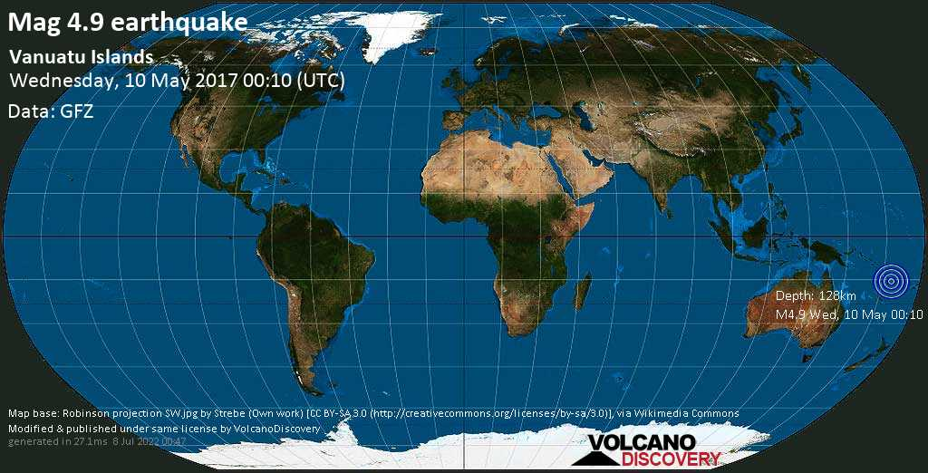 Light mag. 4.9 earthquake  - Vanuatu Islands on Wednesday, 10 May 2017