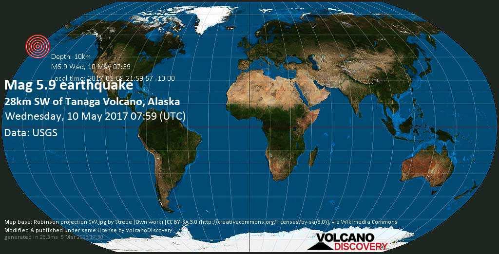 Moderate mag. 5.9 earthquake  - 28km SW of Tanaga Volcano, Alaska on Wednesday, 10 May 2017