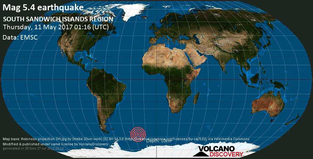 Moderate mag. 5.4 earthquake  - SOUTH SANDWICH ISLANDS REGION on Thursday, 11 May 2017
