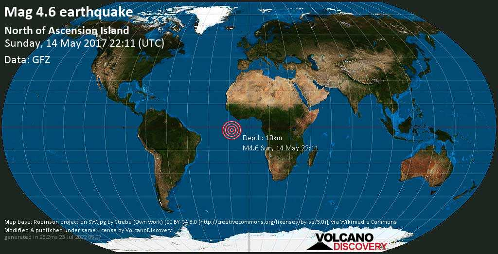 Light mag. 4.6 earthquake  - North of Ascension Island on Sunday, 14 May 2017