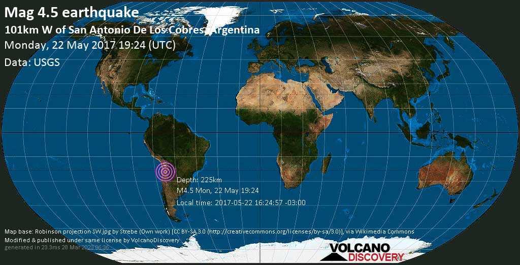 Light mag. 4.5 earthquake  - 101km W of San Antonio de los Cobres, Argentina on Monday, 22 May 2017