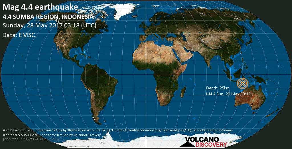 Light mag. 4.4 earthquake  - 4.4  SUMBA REGION, INDONESIA on Sunday, 28 May 2017