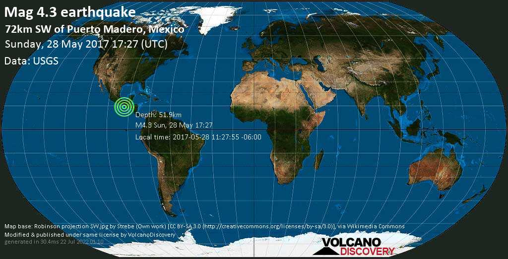 Light mag. 4.3 earthquake  - 72km SW of Puerto Madero, Mexico on Sunday, 28 May 2017