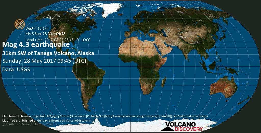 Light mag. 4.3 earthquake  - 31km SW of Tanaga Volcano, Alaska on Sunday, 28 May 2017