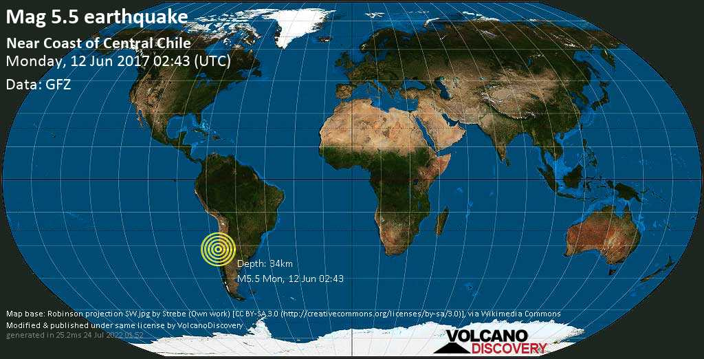 Moderate mag. 5.5 earthquake  - Near Coast of Central Chile on Monday, 12 June 2017