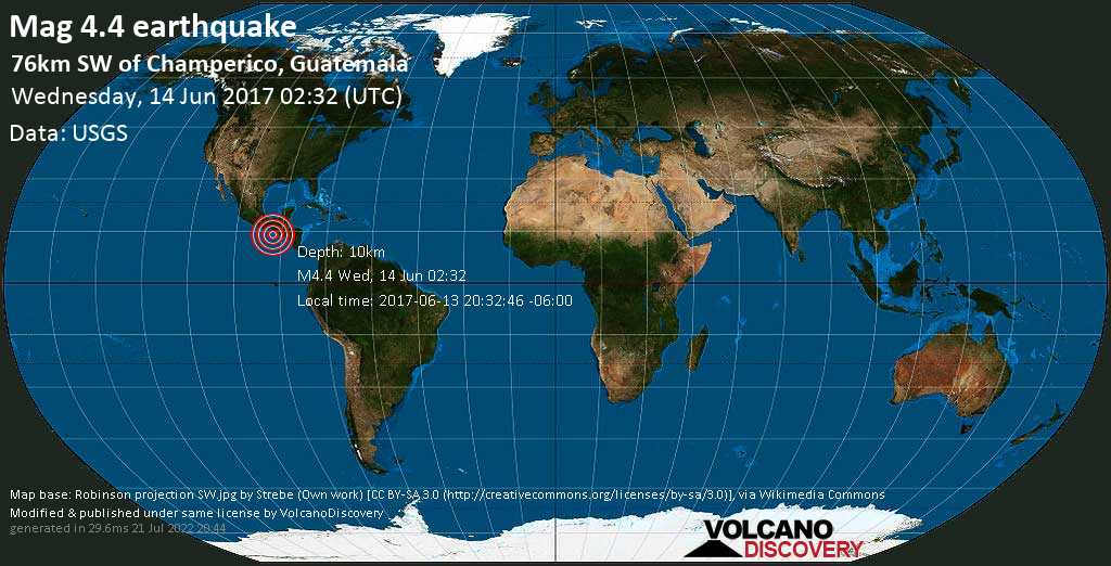 Light mag. 4.4 earthquake  - 76km SW of Champerico, Guatemala on Wednesday, 14 June 2017