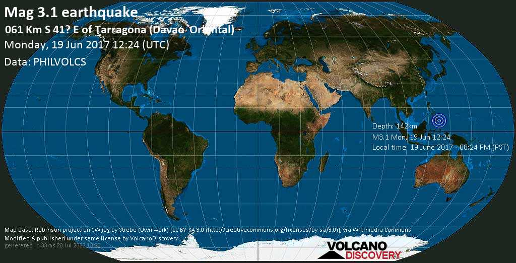 Minor mag. 3.1 earthquake  - 061 km S 41? E of Tarragona (Davao    Oriental) on Monday, 19 June 2017