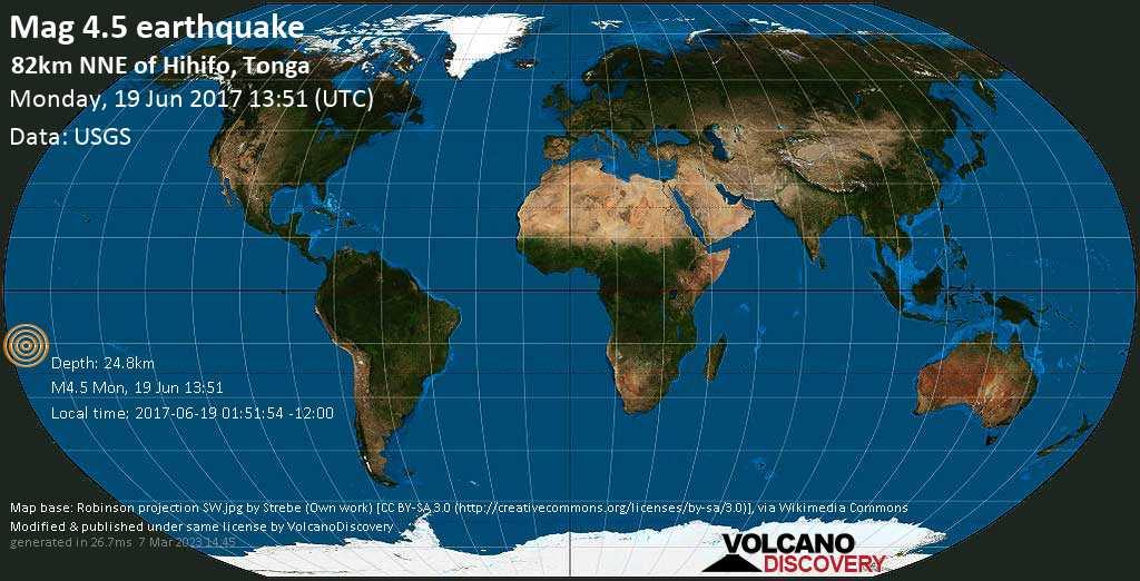 Light mag. 4.5 earthquake  - 82km NNE of Hihifo, Tonga on Monday, 19 June 2017
