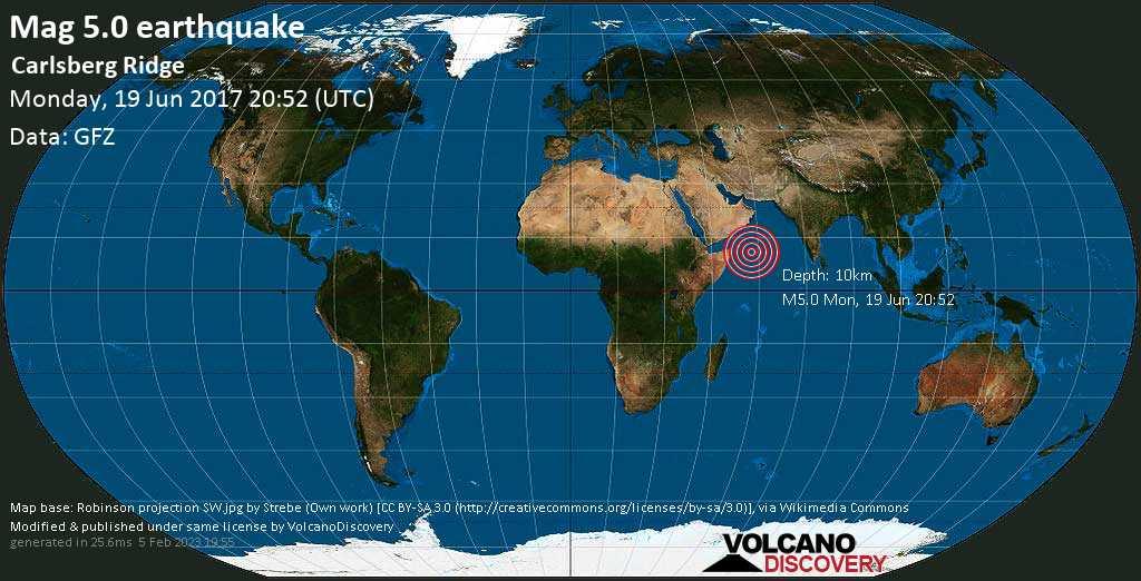 Moderate mag. 5.0 earthquake  - Carlsberg Ridge on Monday, 19 June 2017
