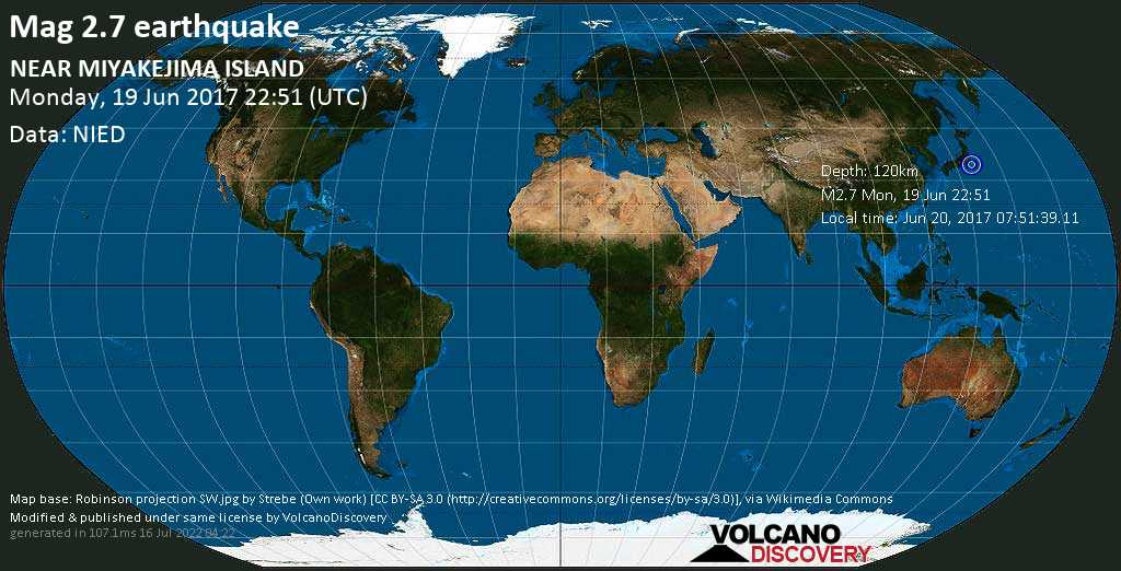 Minor mag. 2.7 earthquake  - NEAR MIYAKEJIMA ISLAND on Monday, 19 June 2017