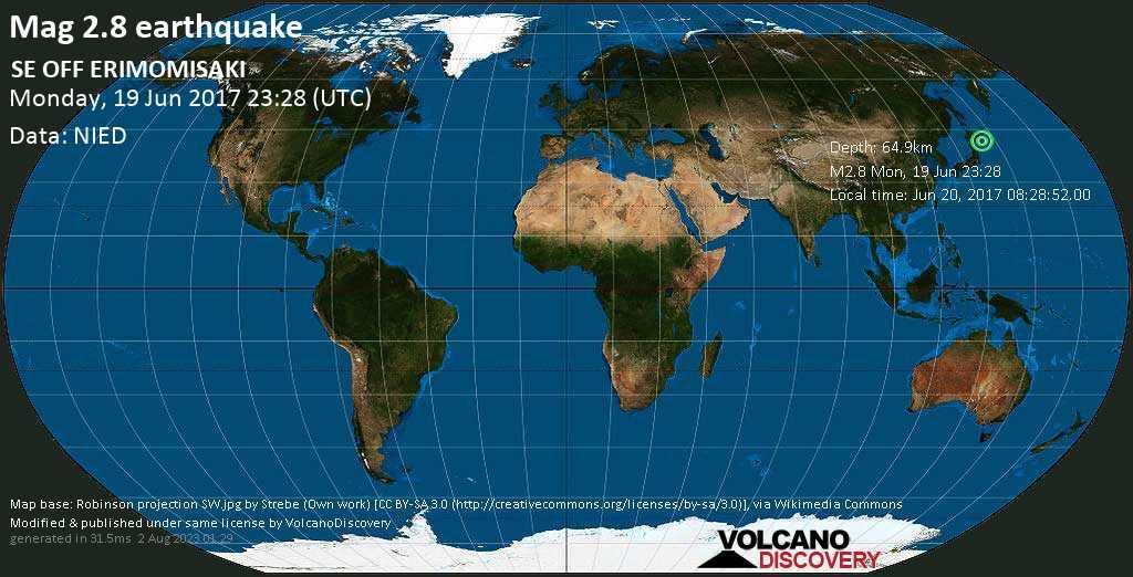 Minor mag. 2.8 earthquake  - SE OFF ERIMOMISAKI on Monday, 19 June 2017