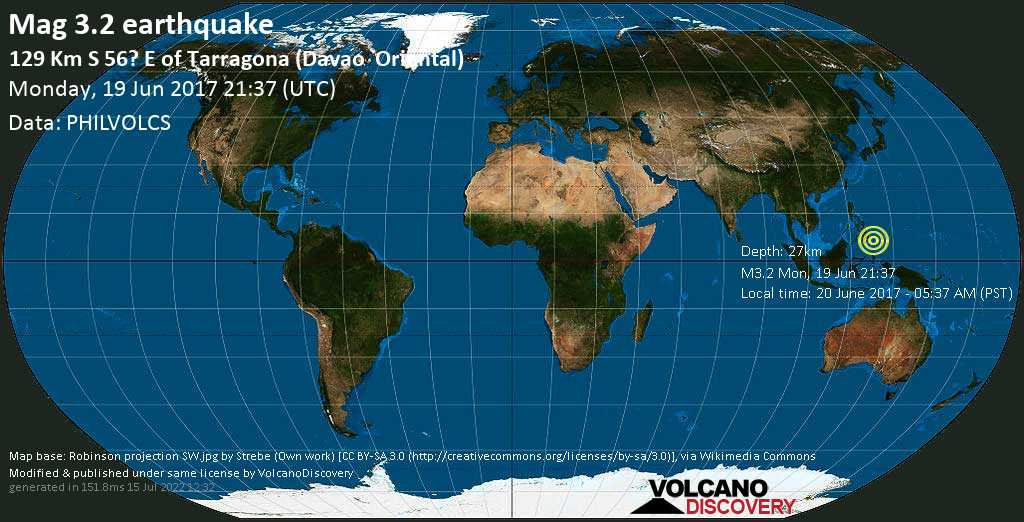 Minor mag. 3.2 earthquake  - 129 km S 56? E of Tarragona (Davao    Oriental) on Monday, 19 June 2017