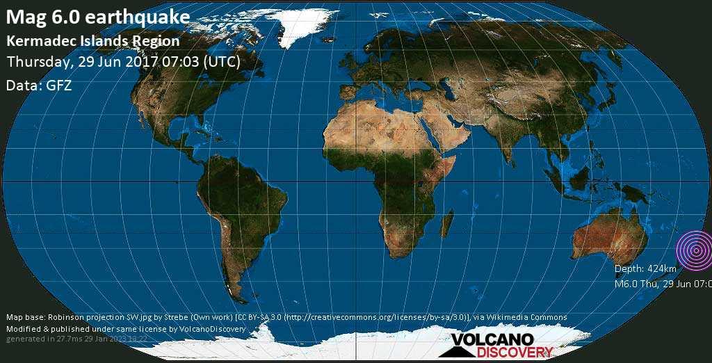 Strong mag. 6.0 earthquake  - Kermadec Islands Region on Thursday, 29 June 2017