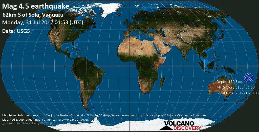 Light mag. 4.5 earthquake  - 62km S of Sola, Vanuatu on Monday, 31 July 2017
