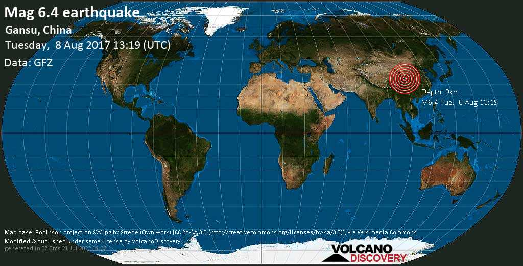 Strong mag. 6.4 earthquake  - Gansu, China on Tuesday, 8 August 2017