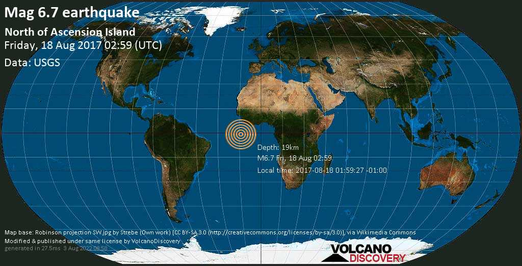 Strong mag. 6.7 earthquake  - North of Ascension Island on Friday, 18 August 2017