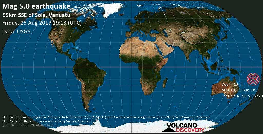 Moderate mag. 5.0 earthquake  - 95km SSE of Sola, Vanuatu on Friday, 25 August 2017