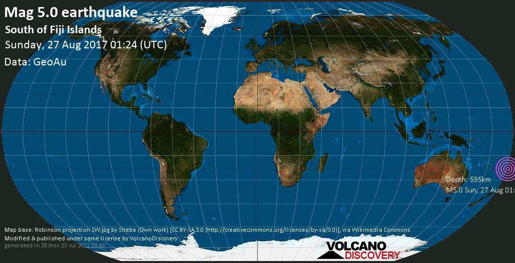 Moderate mag. 5.0 earthquake  - South of Fiji Islands on Sunday, 27 August 2017