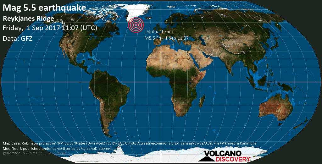 Moderate mag. 5.5 earthquake  - Reykjanes Ridge on Friday, 1 September 2017