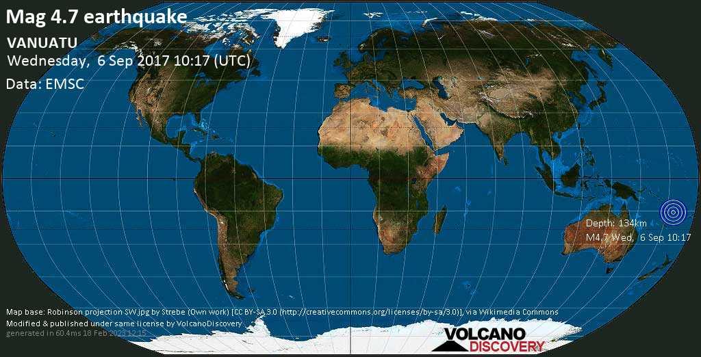 Light mag. 4.7 earthquake  - VANUATU on Wednesday, 6 September 2017