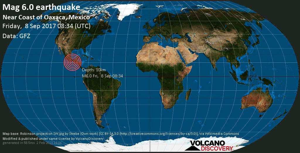 Strong mag. 6.0 earthquake  - Near Coast of Oaxaca, Mexico on Friday, 8 September 2017
