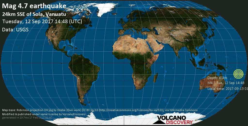 Light mag. 4.7 earthquake  - 24km SSE of Sola, Vanuatu on Tuesday, 12 September 2017