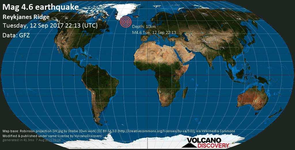 Light mag. 4.6 earthquake  - Reykjanes Ridge on Tuesday, 12 September 2017