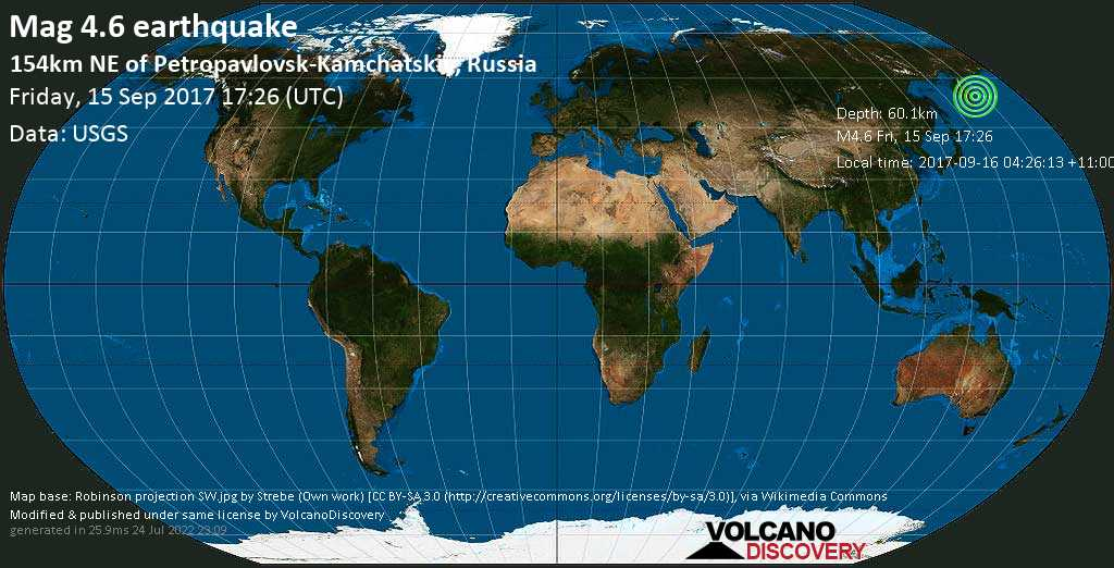 Light mag. 4.6 earthquake  - 154km NE of Petropavlovsk-Kamchatskiy, Russia on Friday, 15 September 2017