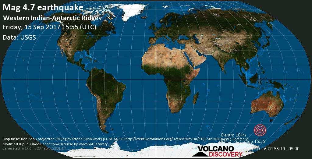 Light mag. 4.7 earthquake  - Western Indian-Antarctic Ridge on Friday, 15 September 2017