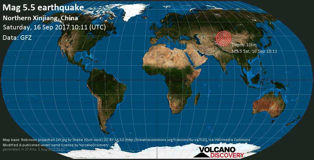 Moderate mag. 5.5 earthquake  - Northern Xinjiang, China on Saturday, 16 September 2017