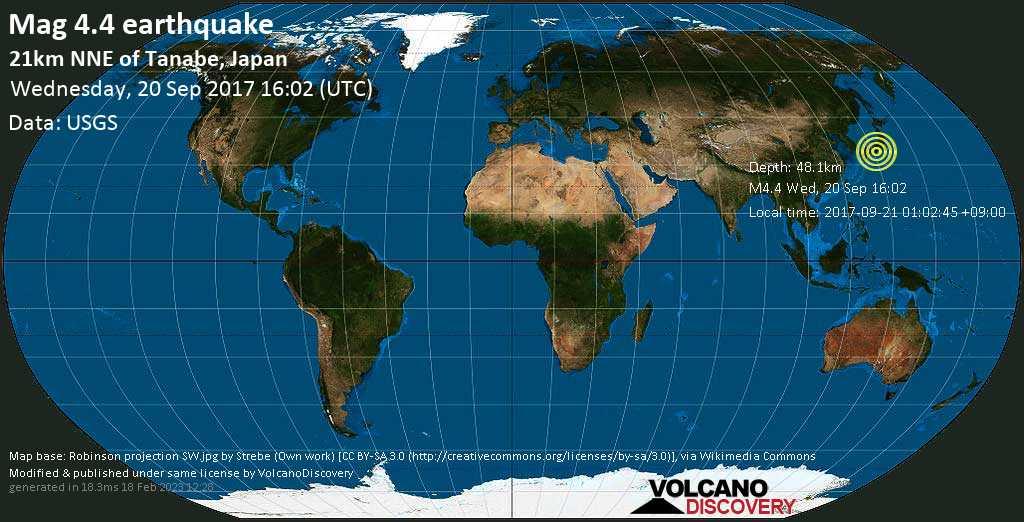 Light mag. 4.4 earthquake  - 21km NNE of Tanabe, Japan on Wednesday, 20 September 2017