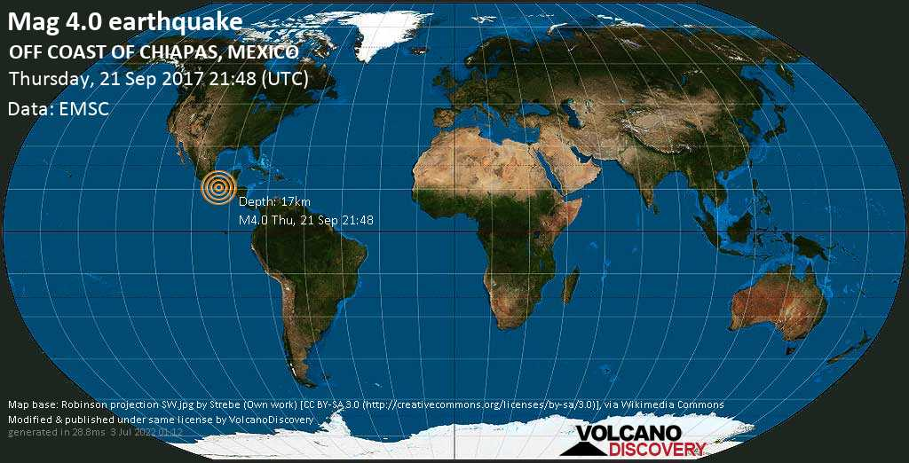 Light mag. 4.0 earthquake  - OFF COAST OF CHIAPAS, MEXICO on Thursday, 21 September 2017