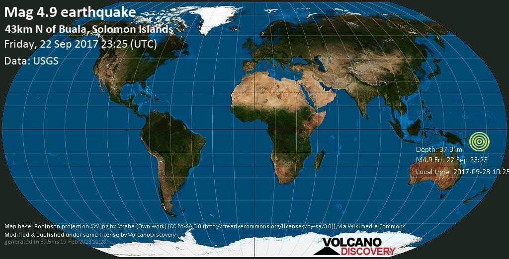 Light mag. 4.9 earthquake  - 43km N of Buala, Solomon Islands on Friday, 22 September 2017