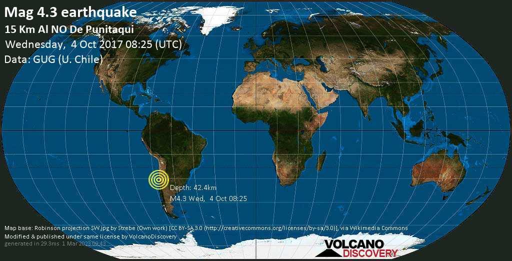 Light mag. 4.3 earthquake  - 15 km al NO de Punitaqui on Wednesday, 4 October 2017