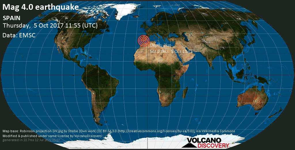 Light mag. 4.0 earthquake  - SPAIN on Thursday, 5 October 2017