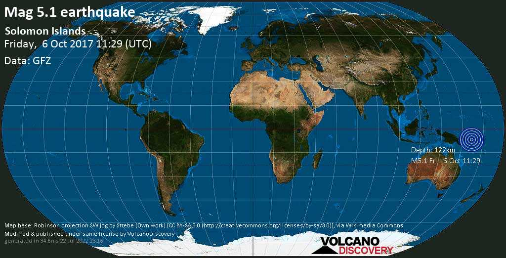 Moderate mag. 5.1 earthquake  - Solomon Islands on Friday, 6 October 2017