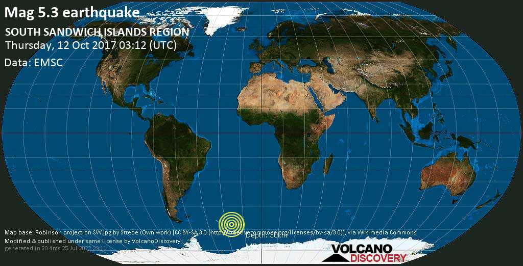 Moderate mag. 5.3 earthquake  - SOUTH SANDWICH ISLANDS REGION on Thursday, 12 October 2017