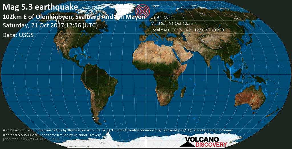 Moderate mag. 5.3 earthquake  - 102km E of Olonkinbyen, Svalbard and Jan Mayen on Saturday, 21 October 2017