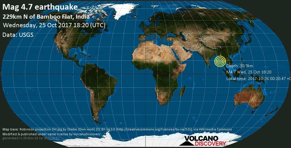 Earthquake info m47 earthquake on wed 25 oct 182047 utc 47 earthquake 229km n of bamboo flat india on wednesday gumiabroncs Image collections