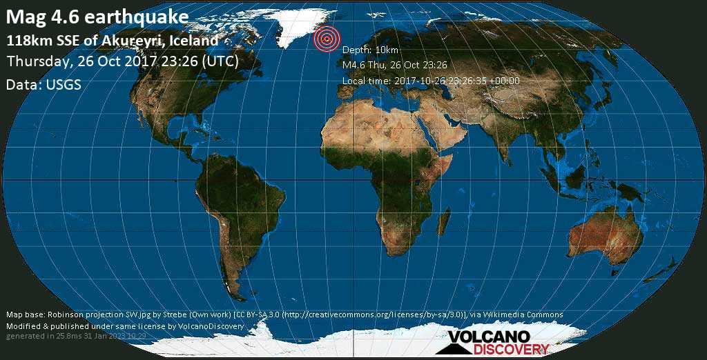 Light mag. 4.6 earthquake  - 118km SSE of Akureyri, Iceland on Thursday, 26 October 2017