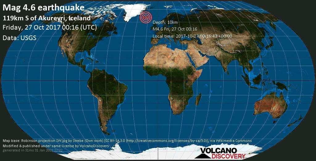 Light mag. 4.6 earthquake  - 119km S of Akureyri, Iceland on Friday, 27 October 2017