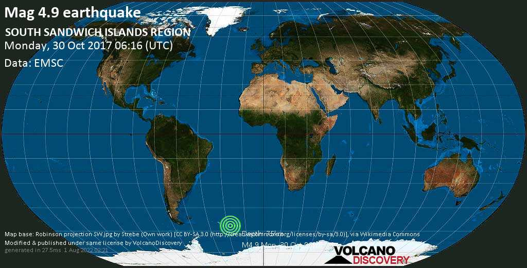Light mag. 4.9 earthquake  - SOUTH SANDWICH ISLANDS REGION on Monday, 30 October 2017