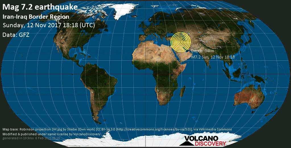 Major mag. 7.2 earthquake  - Iran-Iraq Border Region on Sunday, 12 November 2017