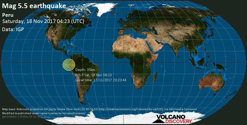 Moderate mag. 5.5 earthquake  - Peru on Saturday, 18 November 2017