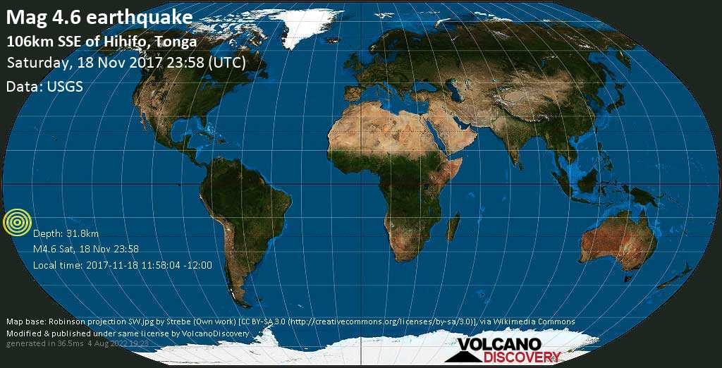Light mag. 4.6 earthquake  - 106km SSE of Hihifo, Tonga on Saturday, 18 November 2017