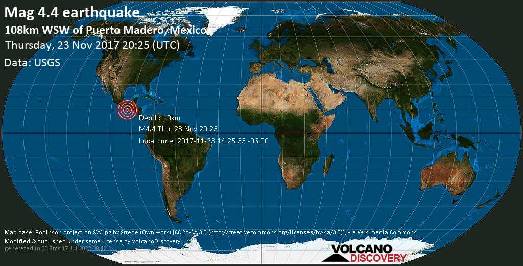 Light mag. 4.4 earthquake  - 108km WSW of Puerto Madero, Mexico on Thursday, 23 November 2017