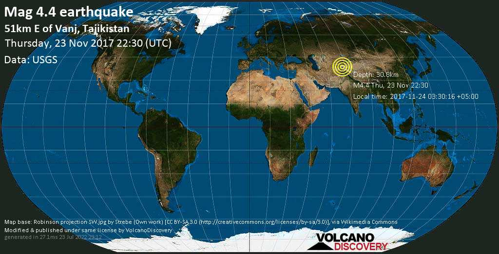 Light mag. 4.4 earthquake  - 51km E of Vanj, Tajikistan on Thursday, 23 November 2017