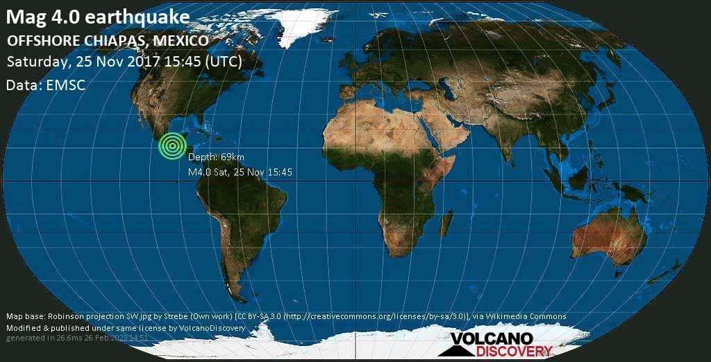 Light mag. 4.0 earthquake  - OFFSHORE CHIAPAS, MEXICO on Saturday, 25 November 2017