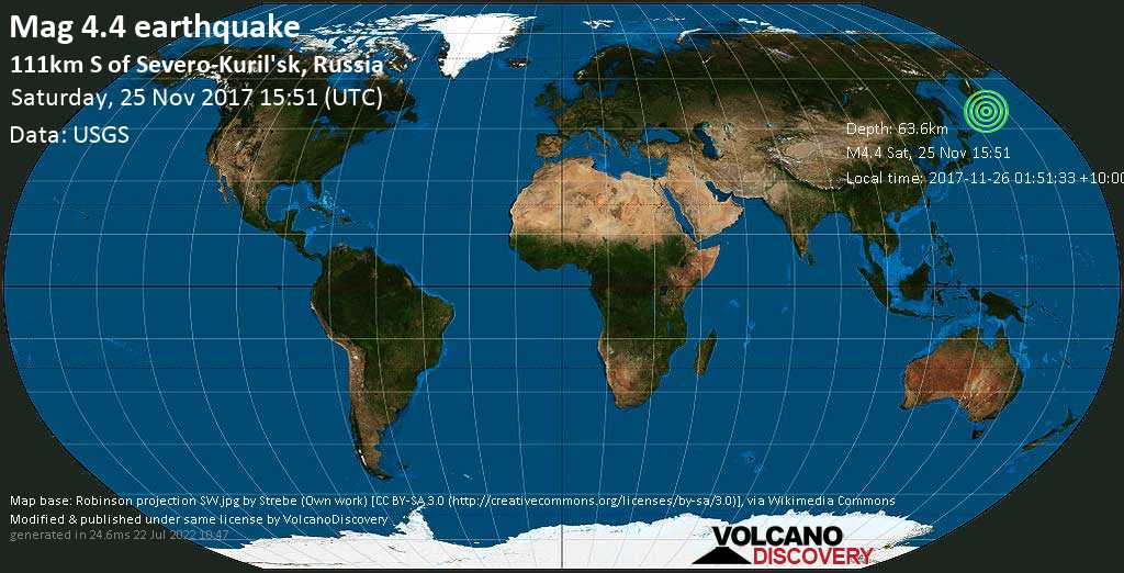 Light mag. 4.4 earthquake  - 111km S of Severo-Kuril\'sk, Russia on Saturday, 25 November 2017
