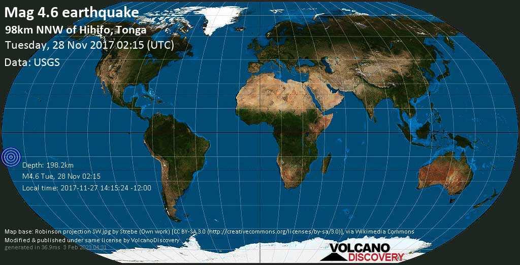 Light mag. 4.6 earthquake  - 98km NNW of Hihifo, Tonga on Tuesday, 28 November 2017